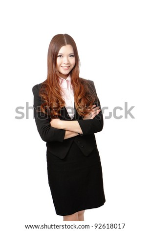 Smiling business woman. Isolated over white background, model is a asian beauty - stock photo