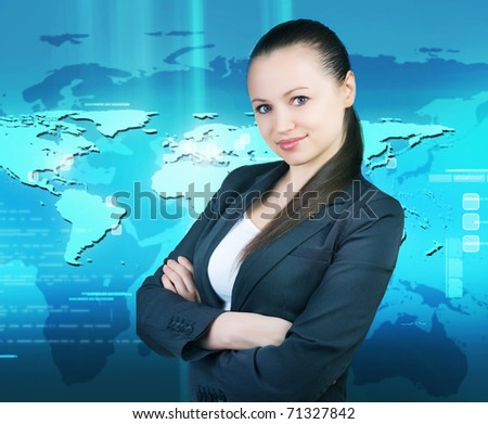 Smiling business woman.Over World map background - stock photo