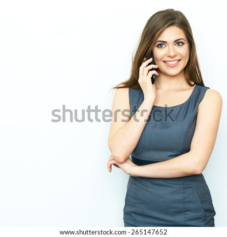 Smiling Business woman phone talking. Isolated portrait. Female business model with phone. - stock photo