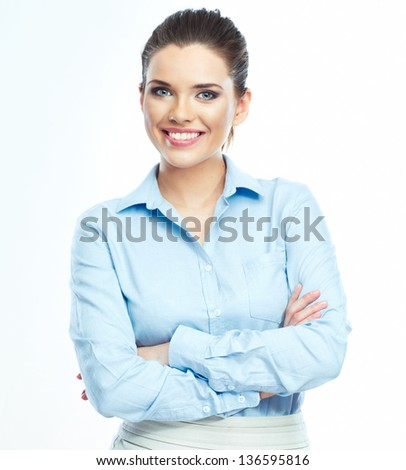 Smiling business woman portrait. White background. - stock photo