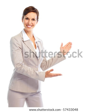Smiling business woman presenting. Isolated over white background - stock photo