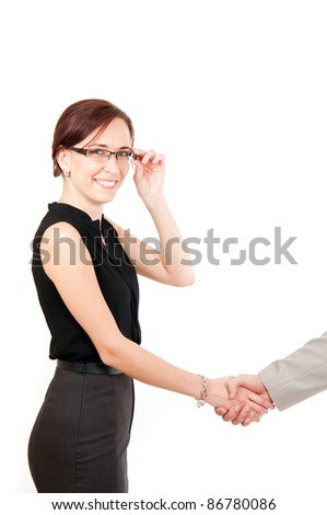 smiling business woman shaking male hand isolated on white - stock photo