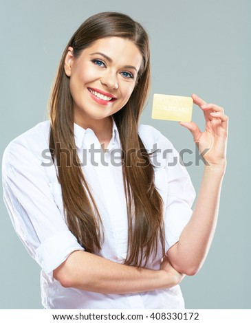 Smiling business woman show credit card. Isolated portrait. - stock photo