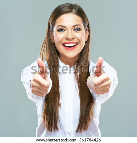 Smiling business woman show thumb up. Successful business woman portrait. Isolated portrait. - stock photo