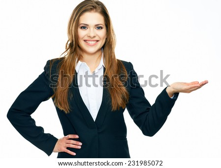 smiling business woman showing copy space for product or advertising text . isolated on white background .