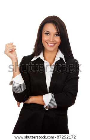 Smiling business woman standing, isolated over white background