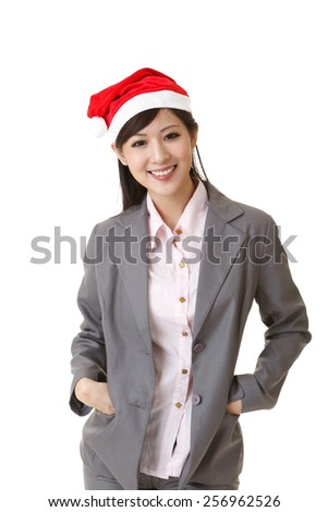 Smiling business woman wearing Christmas hat, closeup portrait on white background. - stock photo