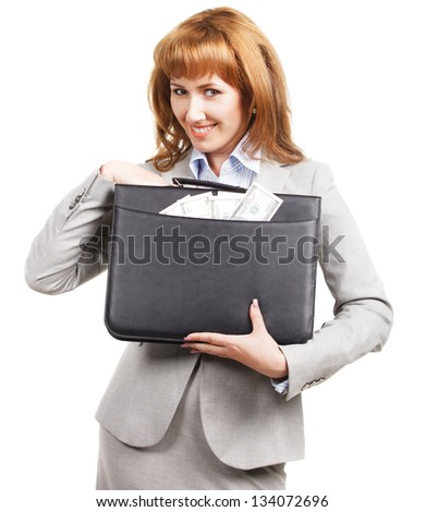 Smiling business woman with black briefcase