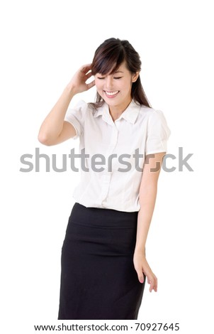 Smiling business woman with blush expression over white background. - stock photo