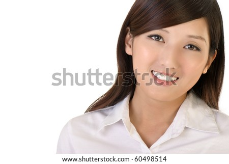Smiling business woman with copyspace, closeup portrait of oriental office lady on white background. - stock photo