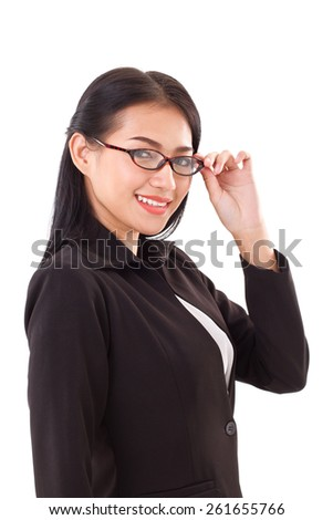 smiling business woman with eyeglasses