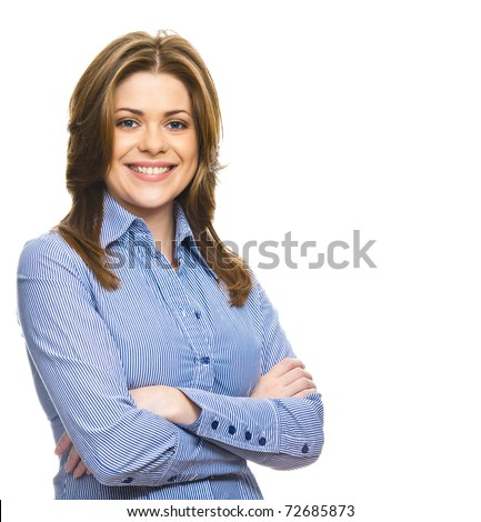 Smiling business woman with folded hands against white background. Toothy smile - stock photo