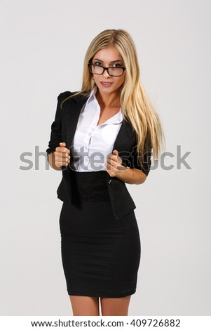 Smiling  business woman with glasses, isolated on white background