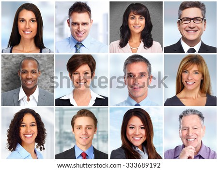 Smiling business women and men faces collage background. - stock photo