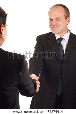 Smiling businessman and businesswoman shaking hands-isolated on white