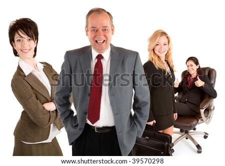 Smiling Businessman and Businesswomen - stock photo