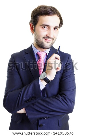 Smiling businessman holding a pen, having a positive attitude, isolated on white - stock photo