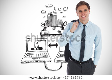 Smiling businessman holding his jacket against video chat illustration - stock photo