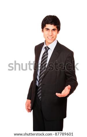 Smiling businessman  isolated on white background - stock photo