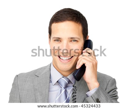 Smiling businessman on phone against a white background