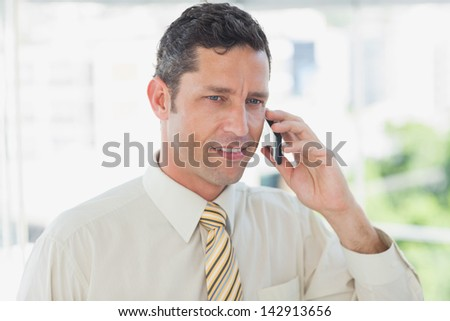 Smiling businessman on the phone in office
