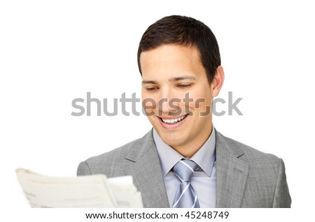 Smiling businessman reading a newspaper isolated on a white background - stock photo
