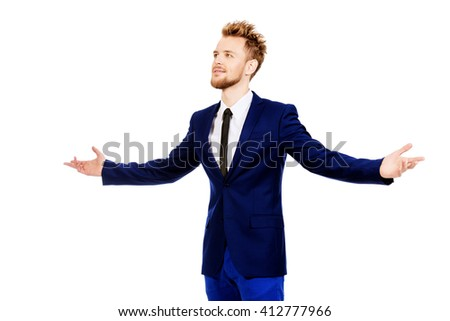 Smiling businessman spread his arms with joy. Success in business. Isolated over white. - stock photo