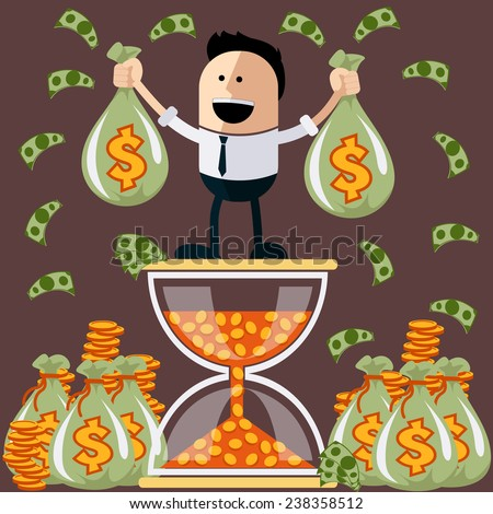 Smiling businessman standing on the hourglass in which coin holding bags of money. Winnings in lottery. Flying around dollar notes cartoon flat design style. Raster version - stock photo