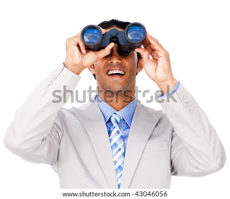 Smiling businessman using binoculars against a white background - stock photo