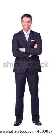 Smiling businessman with folded arms isolated on a white background - stock photo