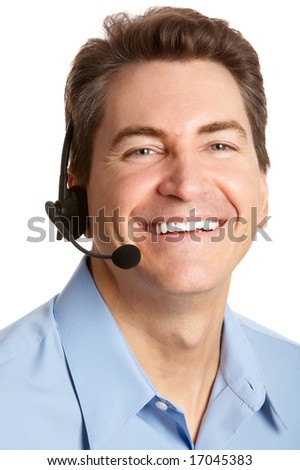Smiling  businessman  with headset. Over white background - stock photo