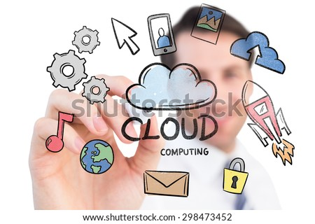 Smiling businessman writing with black marker against cloud computing doodle - stock photo