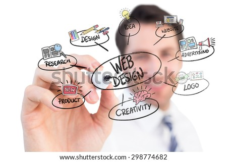 Smiling businessman writing with black marker against web design doodle - stock photo