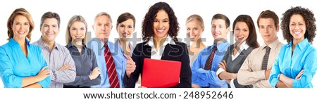 Smiling businesswoman and group of Business people team. - stock photo