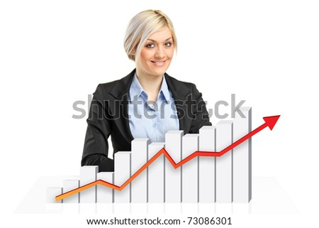 Smiling businesswoman behind a 3d rendered financial graph isolated on white background - stock photo
