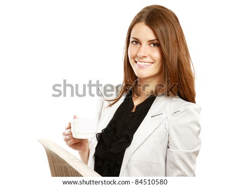 Smiling businesswoman having coffee break isolated on white background - stock photo