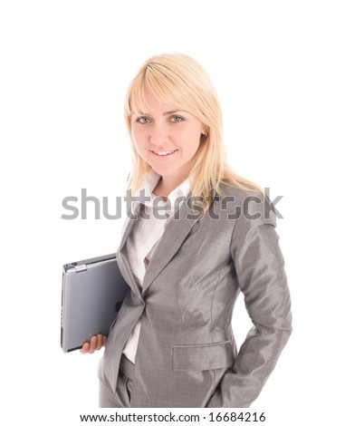 Smiling  businesswoman holding laptop under one's arm. Isolated on white background - stock photo
