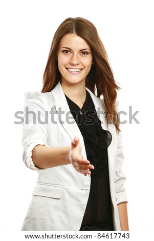 Smiling businesswoman offering handshake isolated