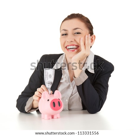smiling businesswoman with dolars in piggybank, white background