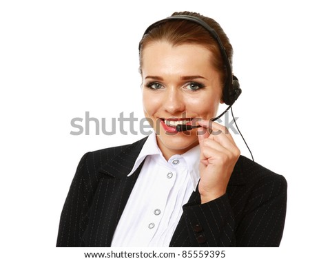 Smiling businesswoman with headset isolated - stock photo