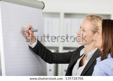 Smiling businesswoman writing on a flipchart in office - stock photo