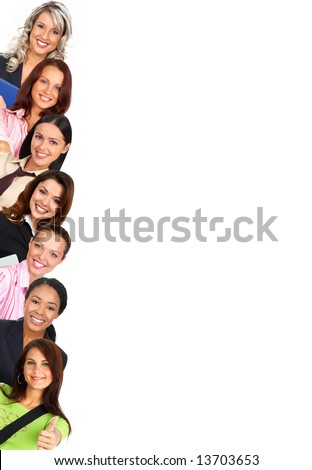 Smiling  businesswomen. Isolated over white background - stock photo
