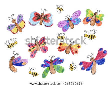 smiling butterflies and honey bees - children drawing - stock photo
