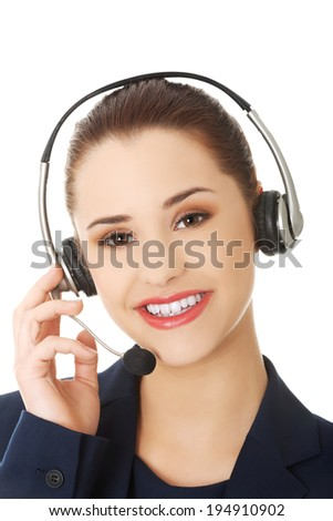 Smiling call center woman with headset