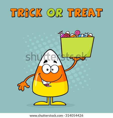 Smiling Candy Corn Cartoon Character Holds A Box With Candy. Raster Illustration With Background And Text - stock photo
