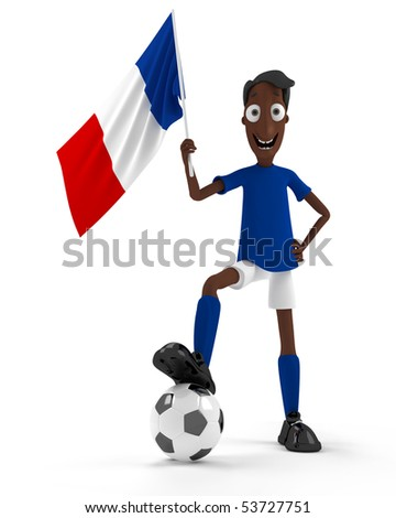 Smiling cartoon style soccer player with ball and France flag