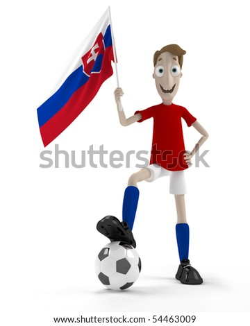 Smiling cartoon style soccer player with ball and Slovakia flag