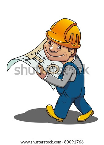 Smiling cartoon worker with scheme for industrial design. Vector version also available in gallery - stock photo
