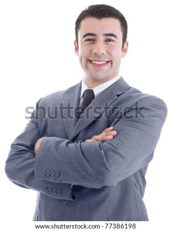 Smiling Caucasian Hispanic Man Arms Crossed Isolated White Background - stock photo
