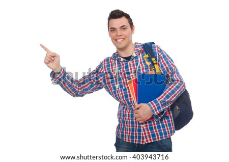 Smiling caucasian student with backpack and book isolated on whi